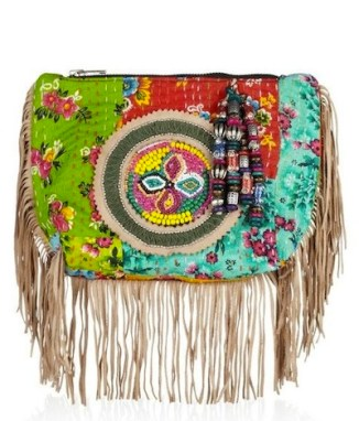 ANTIK BATIK fringe bright cotton clutch nature inspired accessories