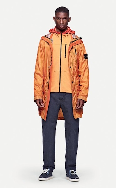 STONE ISLAND tangerine windbreaker spring 2012 men on FashionDailyMag