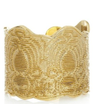 YVES SAINT LAURENT gold plated lace effect cuff FashionDailyMag loves