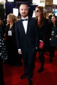 aaron paul in burberry At The Golden Globes Red Carpet