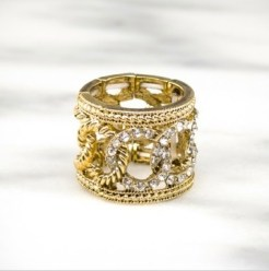 NIQUEA D gold crystal link ring papyrus FashionDailyMag gifts 25