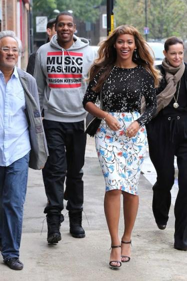 Beyonce and husband Jay Z  in maison kitsune FashionDailyMag