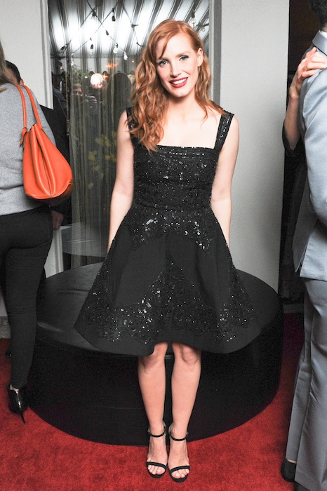 Jessica Chastain W Mag Golden Globes toast