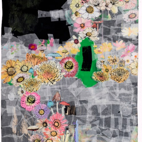 sage vaugn (Cassiopeia) 2015 Acrylic, Camo Nettting, Paper towels, and Velum on Paper 46 inches x 62 inches Press