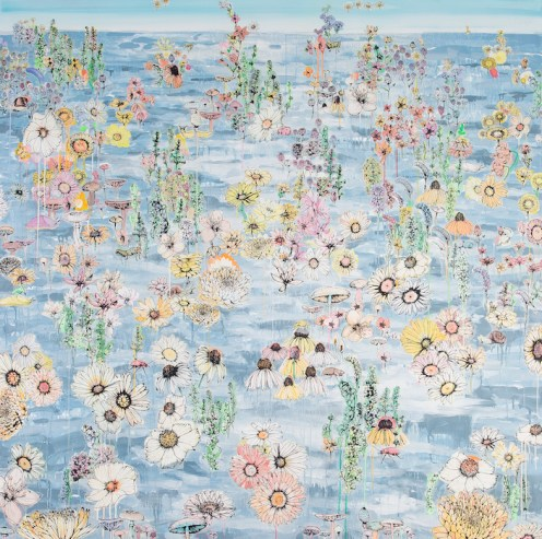 The Stupid Sea 2014 Acrylic, Ink, and Vellum on Canvas 70 inches x 70 inches