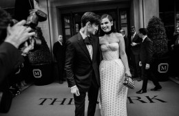 Matt Smith and Lily James wearing Burberry before the Metropolitan Museum of Art Costume Benefit 2017
