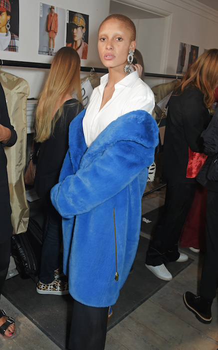 LONDON, ENGLAND - SEPTEMBER 16: Adwoa Aboah wearing Burberry at the Burberry September 2017 at London Fashion Week at The Old Sessions House on September 16, 2017 in London, England. Pic Credit: Dave Benett