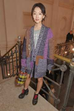 LONDON, ENGLAND - SEPTEMBER 16: Zhou Dongyu wearing Burberry at the Burberry September 2017 at London Fashion Week at The Old Sessions House on September 16, 2017 in London, England. Pic Credit: Dave Benett