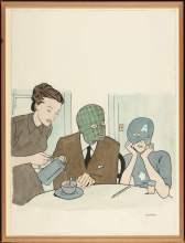 Marcel Dzama, How Was School, 2000, ink on paper, £3,000-4,000
