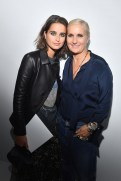 PARIS, FRANCE - SEPTEMBER 24: Loulou Robert and Maria Grazia Chiuri pose backstage after the Christian Dior show as part of the Paris Fashion Week Womenswear Spring/Summer 2019 on September 24, 2018 in Paris, France. (Photo by Victor Boyko/Getty Images) *** Local Caption *** Maria Grazia Chiuri; Loulou Robert