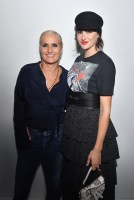 PARIS, FRANCE - SEPTEMBER 24: Maria Grazia Chiuri and Shailene Woodley pose backstage after the Christian Dior show as part of the Paris Fashion Week Womenswear Spring/Summer 2019 on September 24, 2018 in Paris, France. (Photo by Victor Boyko/Getty Images) *** Local Caption *** Maria Grazia Chiuri; Shailene Woodley