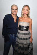 PARIS, FRANCE - SEPTEMBER 24: Maria Grazia Chiuri and Amelia Windsor pose backstage after the Christian Dior show as part of the Paris Fashion Week Womenswear Spring/Summer 2019 on September 24, 2018 in Paris, France. (Photo by Victor Boyko/Getty Images) *** Local Caption *** Maria Grazia Chiuri; Amelia Windsor