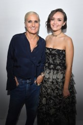 PARIS, FRANCE - SEPTEMBER 24: Maria Grazia Chiuri and Olivia Cooke pose backstage after the Christian Dior show as part of the Paris Fashion Week Womenswear Spring/Summer 2019 on September 24, 2018 in Paris, France. (Photo by Victor Boyko/Getty Images) *** Local Caption *** Maria Grazia Chiuri; Olivia Cooke