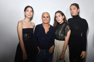 PARIS, FRANCE - SEPTEMBER 24: Maria Grazia Chiuri (2nd from left) and Haim sisters pose backstage after the Christian Dior show as part of the Paris Fashion Week Womenswear Spring/Summer 2019 on September 24, 2018 in Paris, France. (Photo by Victor Boyko/Getty Images) *** Local Caption *** Maria Grazia Chiuri; Haim sisters