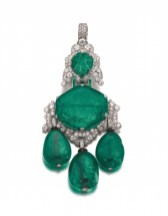 Colombian emerald and diamond pendant-brooch combination, Cartier, 1927 - Magnificent Jewels and Noble Jewels Sotheby's Geneva 13 nov 2019