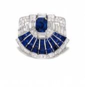 Sapphire and Diamond Brooch-clip, Cartier, 1937