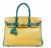A CUSTOM MATTE MIMOSA AND BLEU PAON POROSUS CROCODILE BIRKIN 30 WITH BRUSHED GOLD HARDWARECHANEL and BIRKIN handbags x hype christies FashionDailyMag fashion brigitteseguracurator