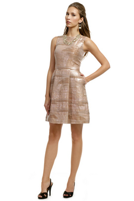 Go with a chic and classic look by wearing this beautiful Christian Siriano blush colored cocktail dress. Simple yet stunning.