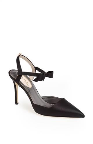 "The black satin ""Pola"" heel ($365)"