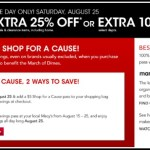 Macy's Shop for a Cause: Save 25% on August 25th, 2012