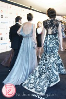 Models wearing KORHANI Home collections @ M.A.C VIVA Glam Fashion Cares 25 Red Carpet