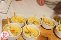 Sweet Potato & Roasted Corn Chowder with Smoked Ham Hock, Cilantro Crema by Chef Amira Becarevic, EPIC, Fairmont Royal York @ 2012 Taste Canada - The Food Writing Awards