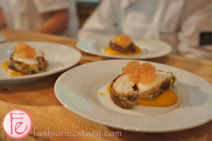 Roasted loin of monk fish wrapped in duck presunto with a pumpkin & sweet yam puree by Chiado Fine Dining @ 2012 What's On The Table