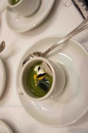 2013 Dragon Ball Toronto - Veloute of watercress, fricassee of frog legs, montpellier butter, pine creme fraiche, marinated lotus root, caviar (by Tundra)