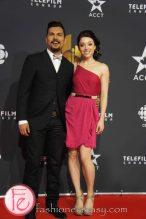 Adam Beach, Leah Gibson (wearing BCBG)- Arctic Air - Canadian Screen Awards Broadcast Gala