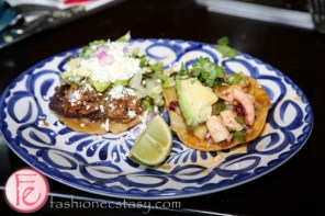 Sope Plazero (pork carnitas tortilla) and Tostadita De Pulpo (octopus ceviche tortilla)