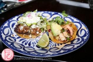Sope Plazero (pork carnitas tortilla) and Tostadita De Pulpo (octopus ceviche tortilla)