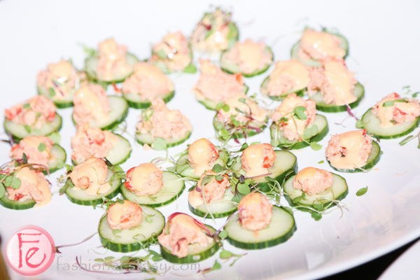 lobster paste on cucumber Hush Hush Bash 2014