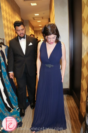 Zoe Band in blue gown at hudson's bay personal fitting room