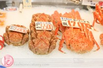 fish market selling king crabs in Otaru