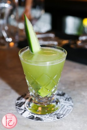 fables of the green forest made with absinthe, rye, gin, cucumber, citric acid, chlorophyll