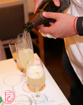 making a French 75 cocktail