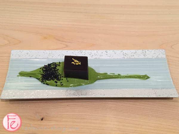 red bean youkan with green tea whipped cream shoushin sushi bar