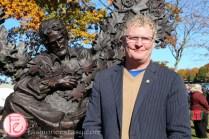 Orillia Mayor Steve Clarke golden leaves gordon lightfoot statue