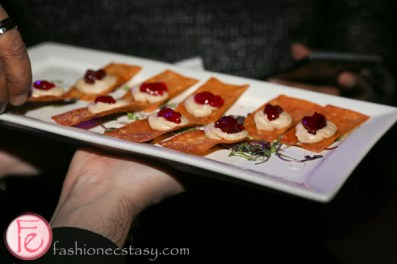 foie gras paste on wonton crips by Eatertainment