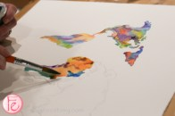 colourful watercolour world map