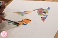 colourful watercolour world map