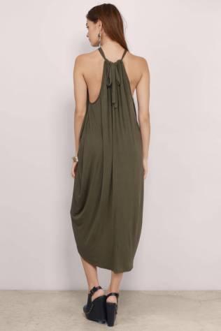 "TOBI's ""Destination Anywhere Olive Surplice Maxi-dress"