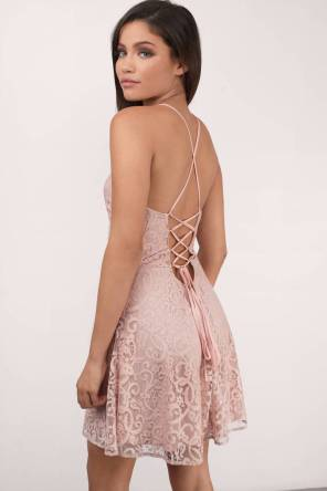 "Tobi's ""SWEET DESIRE ROSE LACE SKATER DRESS""-back"