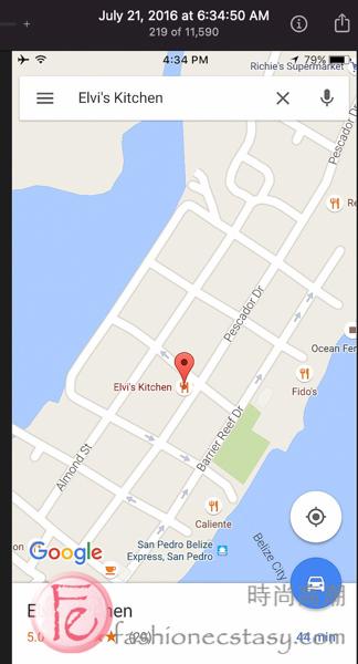 Elvi's Kitchen, San Pedro best restaurant, Belize map