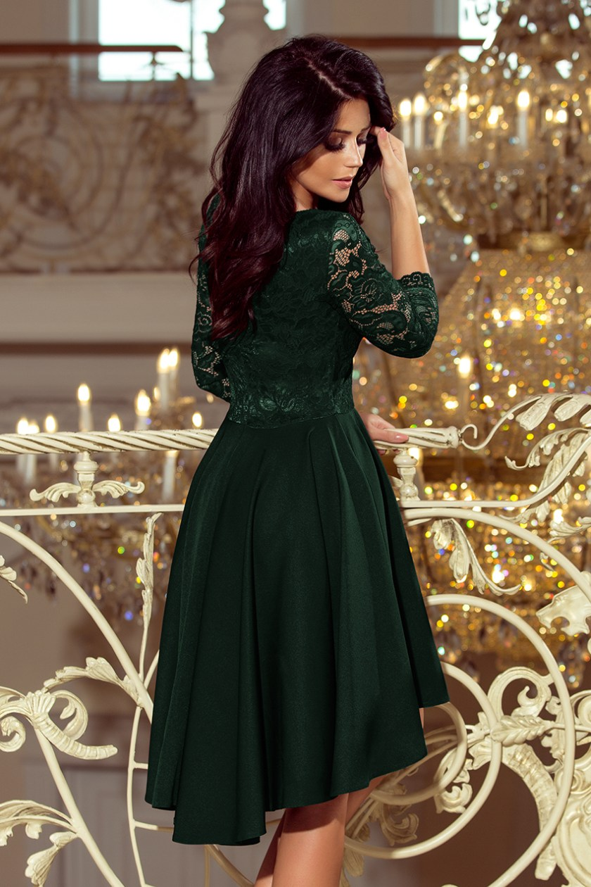 cocktail dress green back -