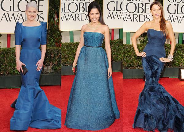Kelly Osbourne, Freida Pinto, Sofia VergaraGolden Globes 2012 blue dresses