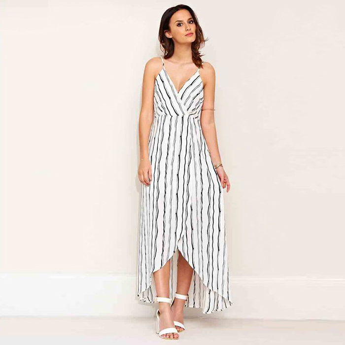 Lucy Watson Monochrome Stripe Maxi Dress