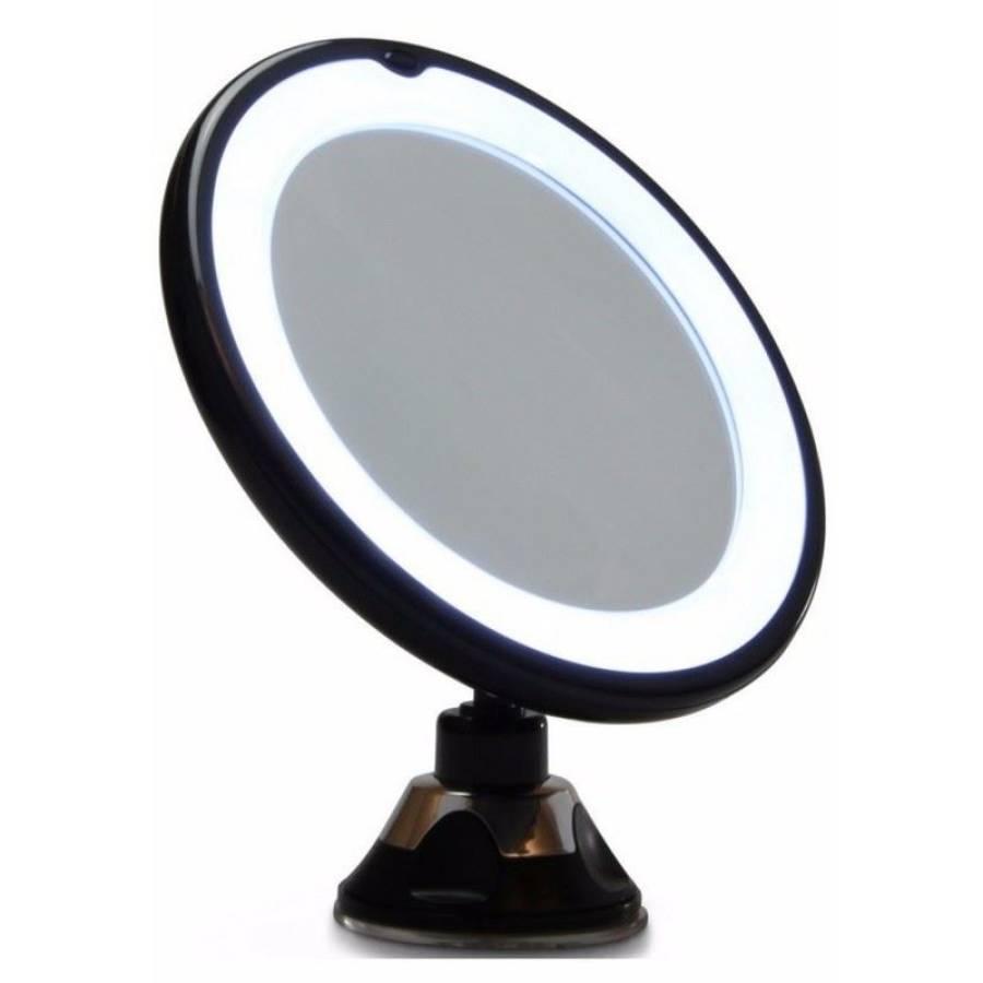 Miroir Led Uniq Maquillage Avec Ventouse Grossissant X10 Noir