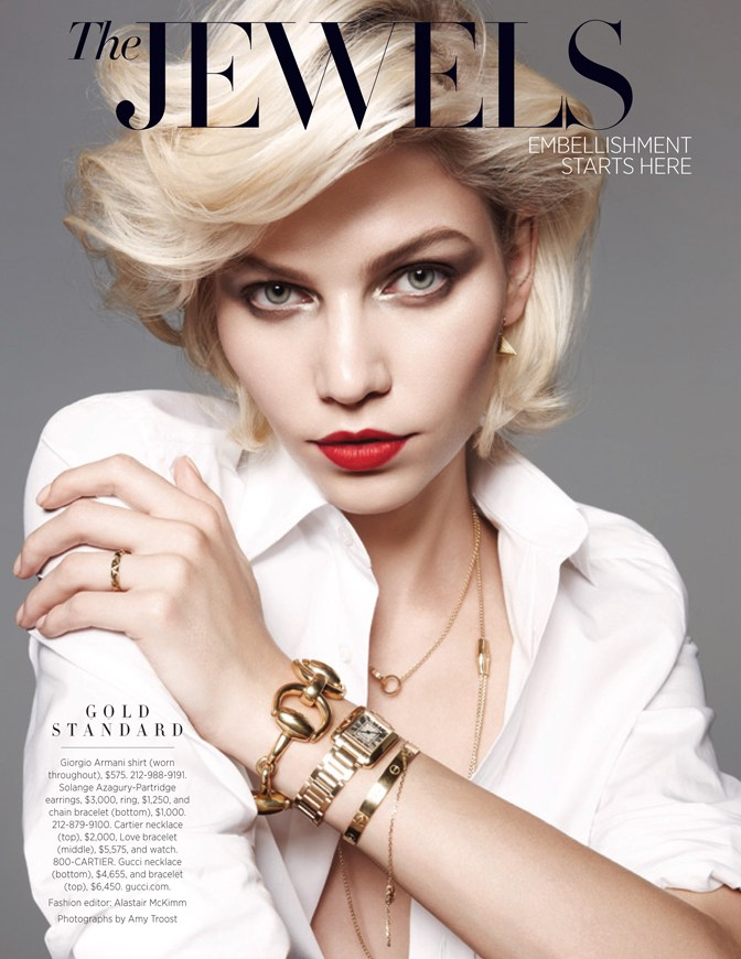 aline weber jewels1 Aline Weber Shines for Amy Troost in Harpers Bazaar US March 2013
