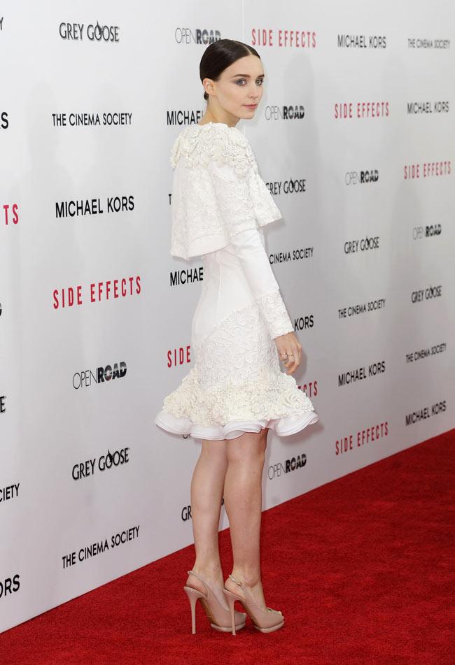 rooneymara2 Rooney Mara in Alexander McQueen at the Side Effects New York Premiere